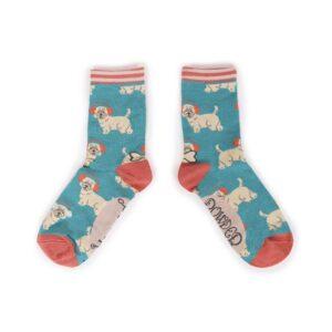 Powder Westie with Earmuffs Ankle Socks