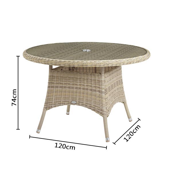 Bramblecrest Ascot 120cm Table Dimensions