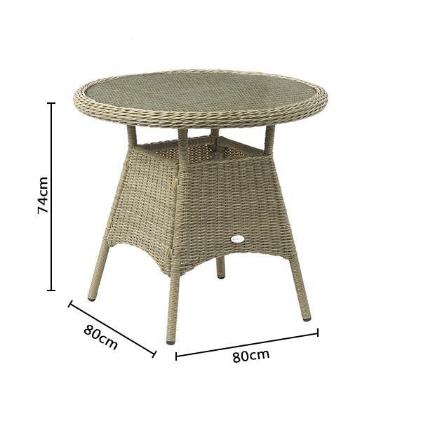 Bramblecrest Oakridge 80cm Bistro Table DImensions