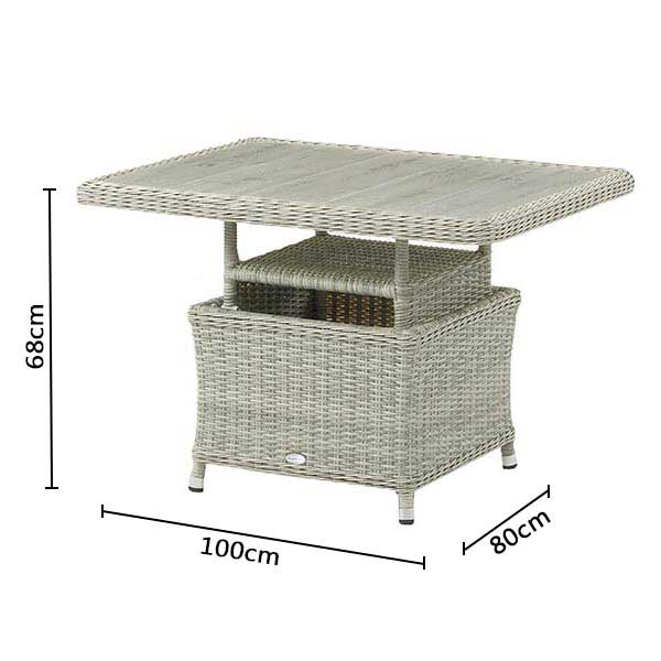 Bramblecrest Mini Adjustable DIning Table with Ceramic Top DImensions