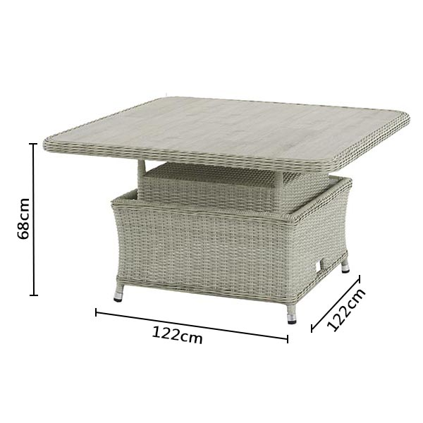 Bramblecrest Monterey Square Adjustable Casual Dining Table with Ceramic Top