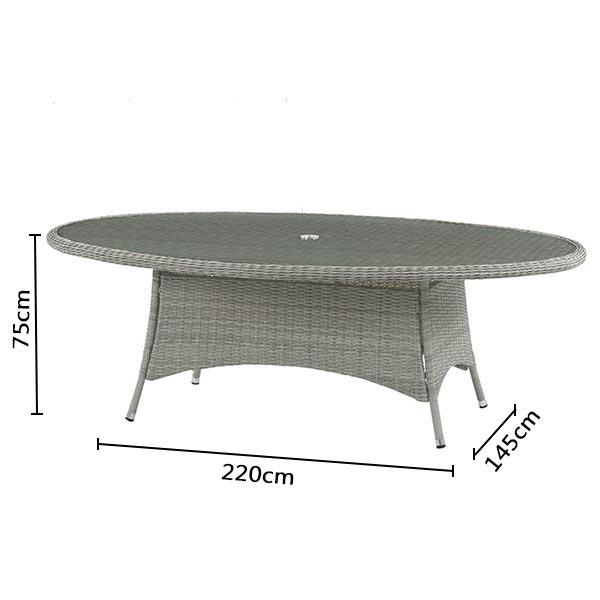 Bramblecrest Monterey Oval Table RMTE4 Dimensions