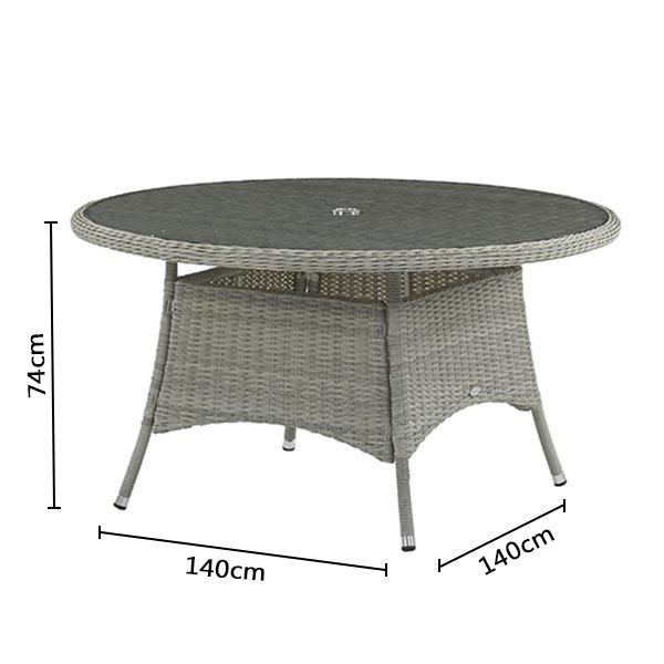 Bramblecrest Monterey 140cm Table with Glass Top DImensions