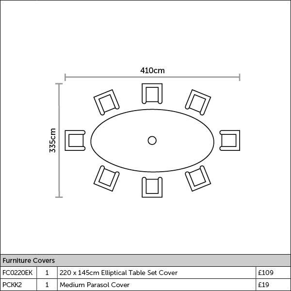 Bramblecrest Monterey 8 Seat Oval Dining Set Plan