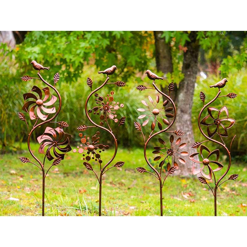 Jonart Design Bird Double Bronze Wind, Wind Spinners For Garden