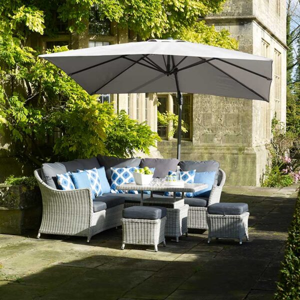 Bramblecrest Lichfield 2.7m Square Side Post Parasol in Grey