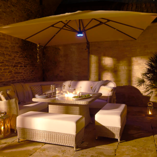 Bramblecrest Truro Sand 3m x 3m Square Side Post Parasol + LED lighting + Protective Cover