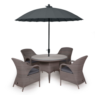 4 Seasons Outdoor - Sussex 4 Seat Dining Set in Polyloom Pebble with Shanghai Charcoal Parasol & Base