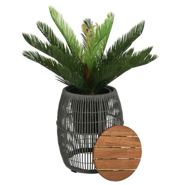Seville Rope Side Table Grey converts to a planter