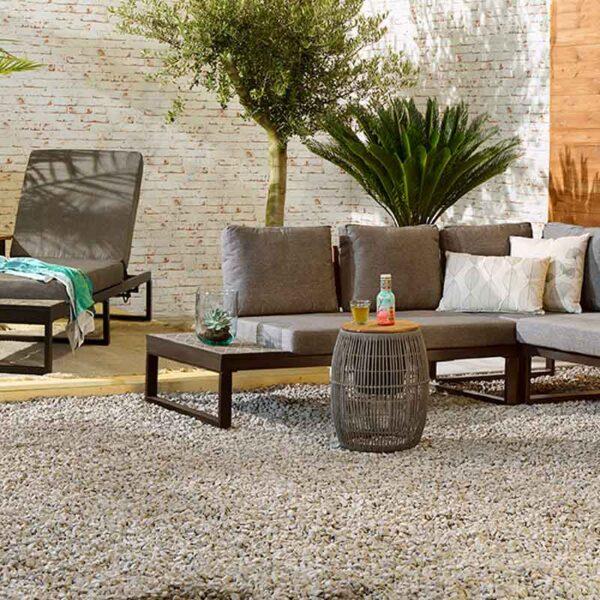 Seville Rope Side Table Grey in garden