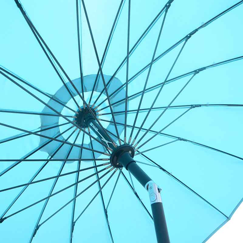 Shanghai 2.7m Crank and Tilt Round Parasol in Aqua Blue detail