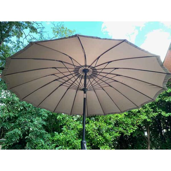 Shanghai 2.7m Crank and Tilt Round Parasol in Taupe detail