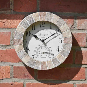 Smart Garden Outside In Stonegate Wall Clock & Thermometer 10 inch Lifestyle