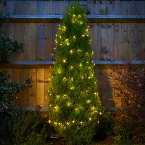 Smart Solar 50 Warm White LED String Lights Night Lifestyle