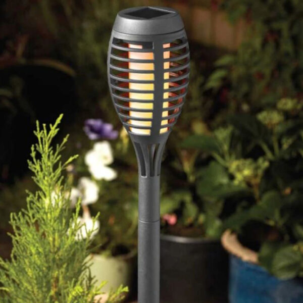 Smart Solar Party Flaming Torch Slate Grey 5 pk Lifestyle 2