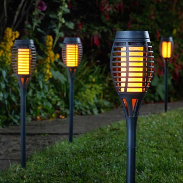Smart Solar Party Flaming Torch Slate Grey 5 pk Lifestyle