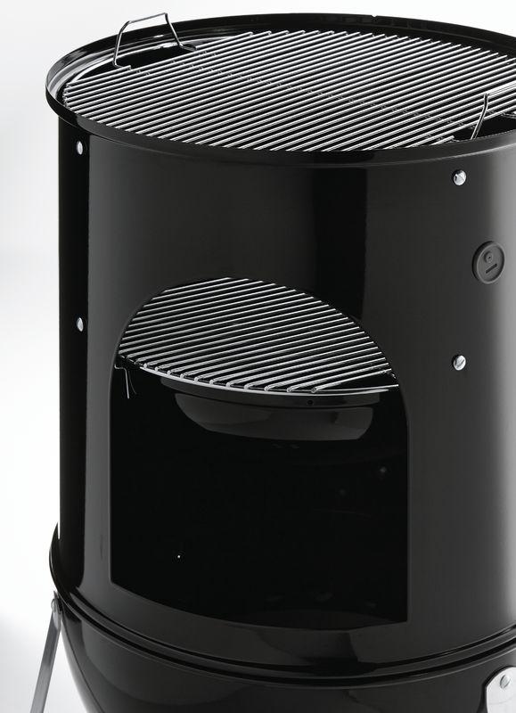 Inside a Weber Smokey Mountain Cooker Smoker (Black)