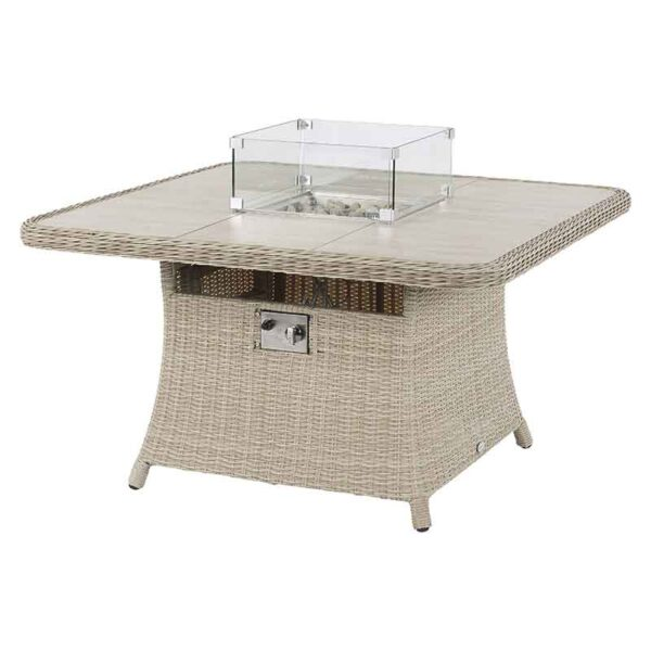 Square Casual Dining Table with Ceramic Top & Fire Pit in Sandstone