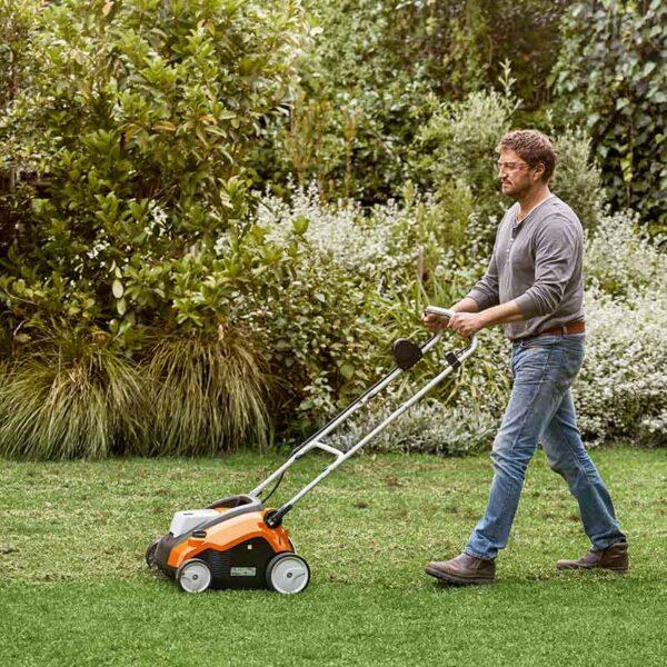 Stihl RLA 240 Cordless Lawn Scarifier in garden