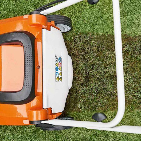 Stihl RLA 240 Cordless Lawn Scarifier in use