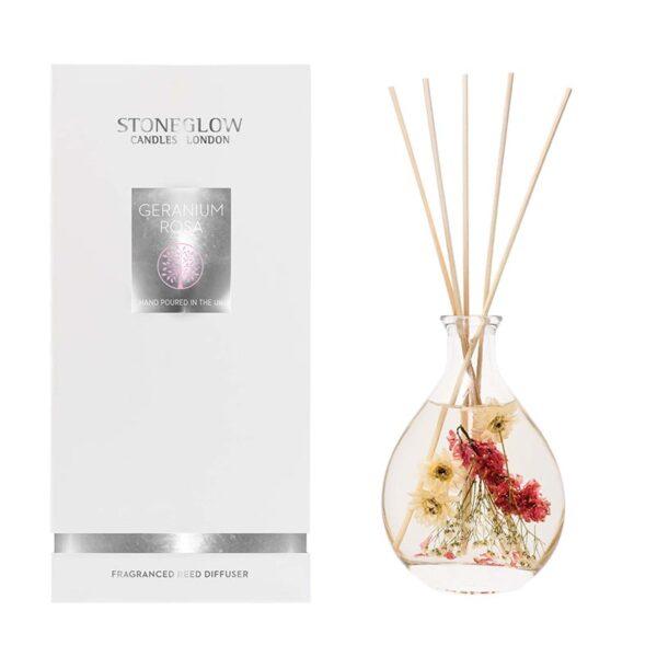 Stoneglow Geranium Rosa Natures Gift Diffuser & Box