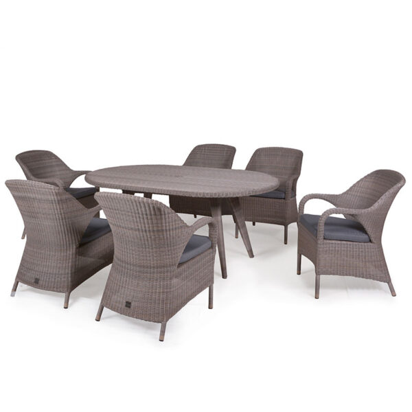 Sussex 6 Seat Oval Dining Set by 4 Seasons Outdoor includes parasol & base