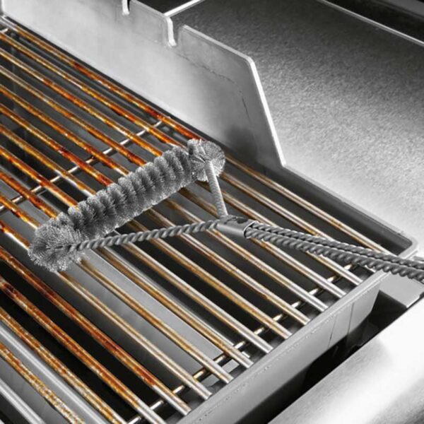 Weber Three Sided Grill Brush - 53cm in use