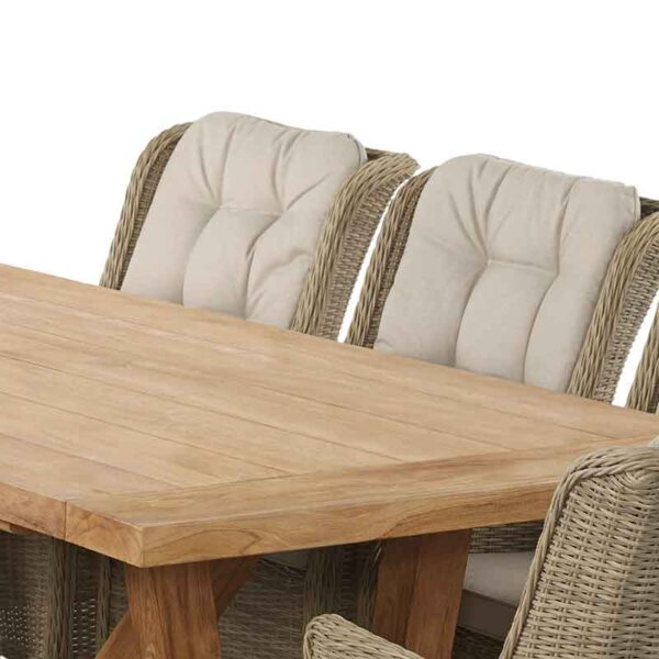 Table detail for Bramblecrest 8 Seat Dining Set with Kuta Table & Oakridge Armchairs