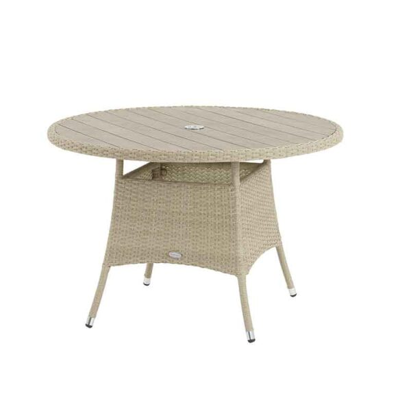 Tetbury 110cm Round Table in Nutmeg with recessed Tree-Free top