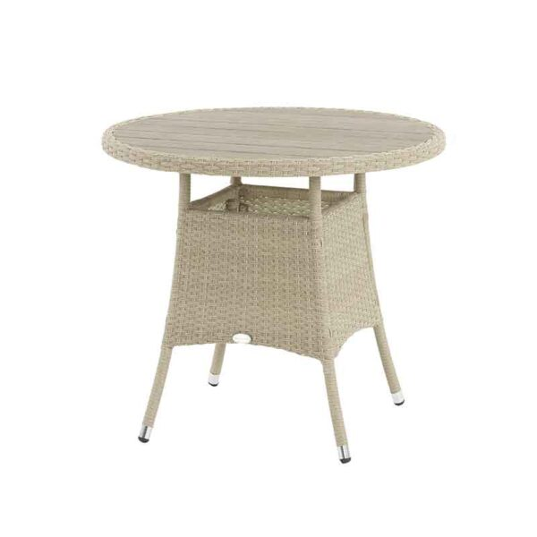 Tetbury 80cm Round Bistro Table in Nutmeg with recessed Tree-Free top