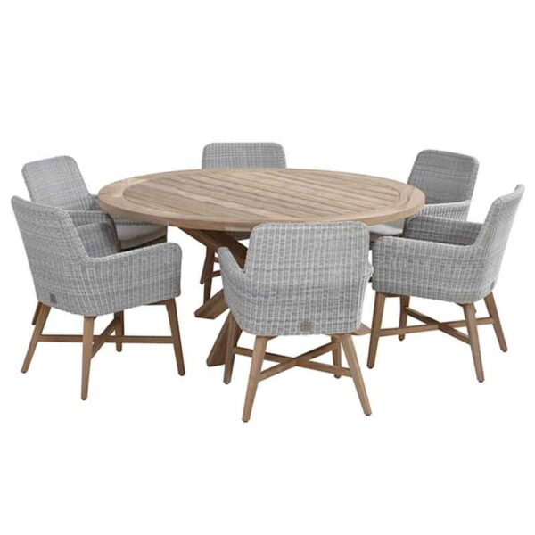 The 4 Seasons Outdoor 6 Seat Lisboa Dining Set in Polyloom Ice with Louvre Table & Lazy Susan