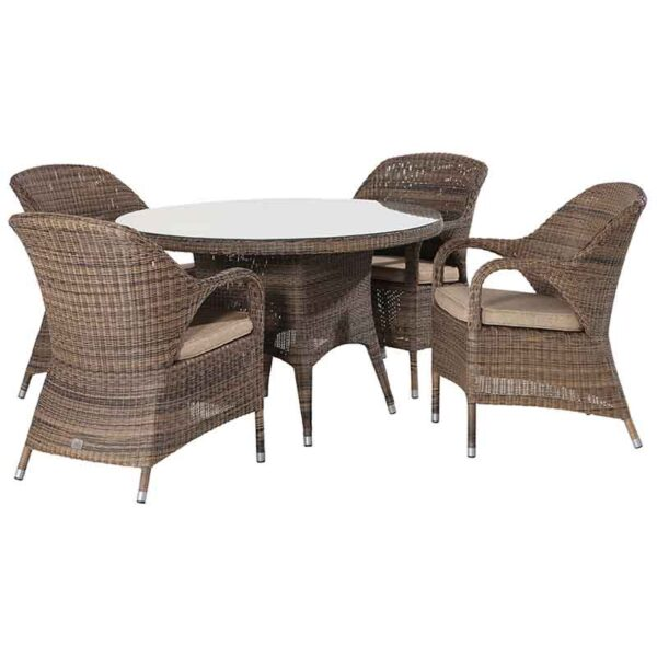 The 4 Seasons Outdoor Sussex 4 Seater Round Garden Dining Set with Parasol & Base