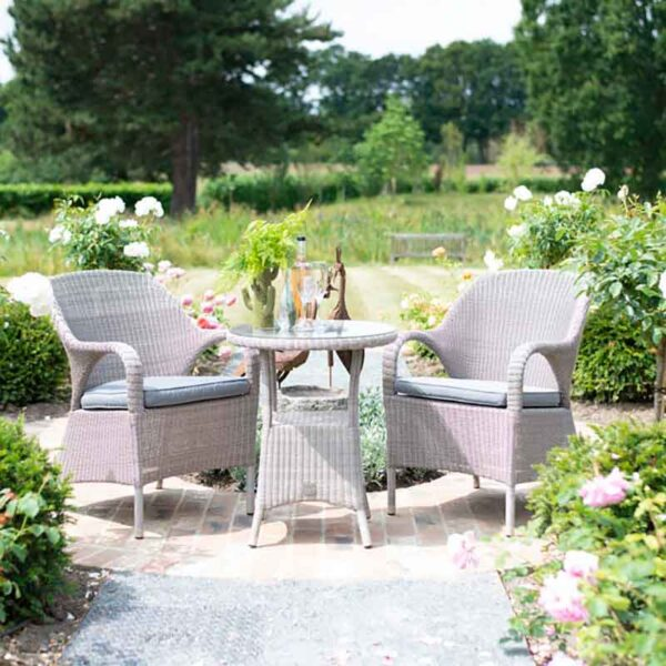 The 4 Seasons Outdoor - Sussex Bistro Set in Polyloom Pebble