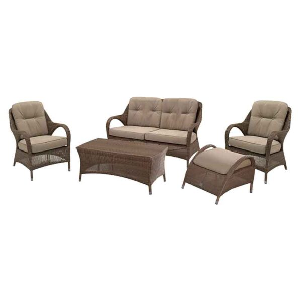 The 4 Seasons Outdoor Sussex Lounge Suite in Polyloom Taupe with Footstool