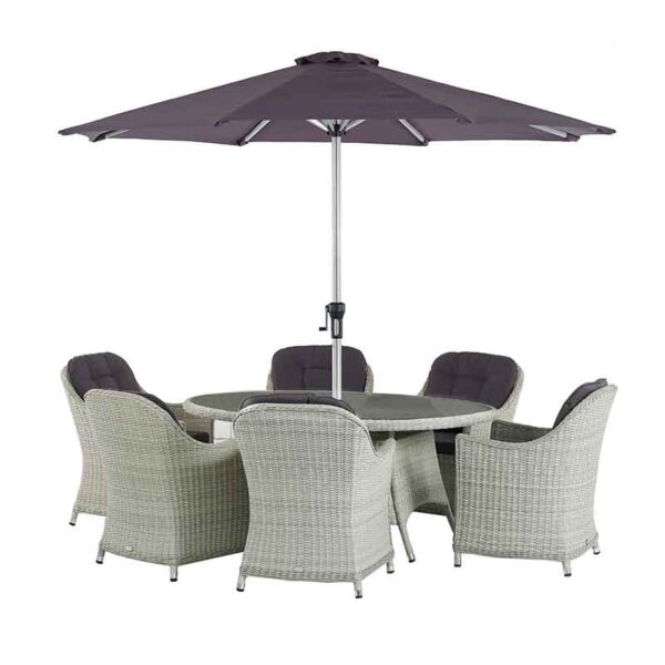 The Bramblecrest Monterey 6 Seat Oval Dining Set in Dove Grey with Parasol & Base