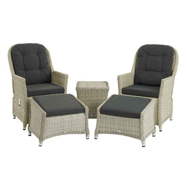 The Bramblecrest Monterey Recliner Set with high ceramic top coffee table & footstools