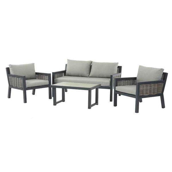 The Bramblecrest Portofino 4 Seater Aluminium & Wicker Outdoor Lounge Set