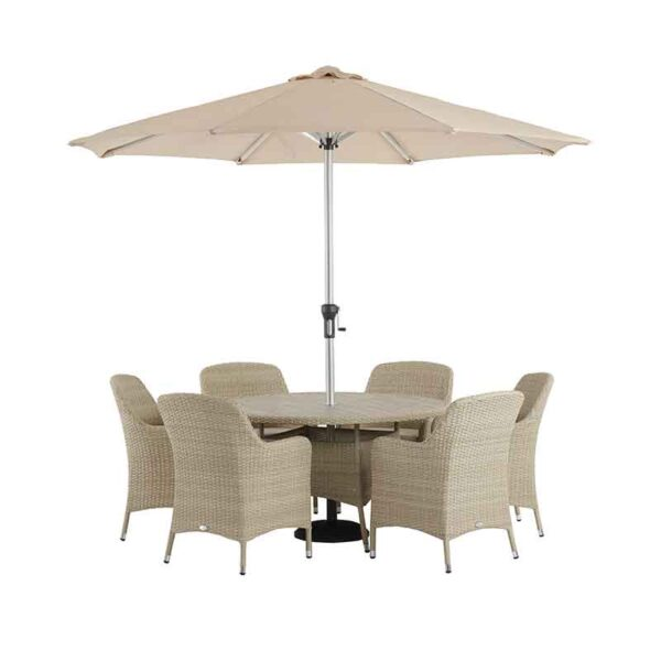 The Bramblecrest Tetbury 6 Seater Dining Set in Nutmeg with Parasol & Base