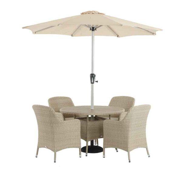 The Bramblecrest Tetbury 4 Seater Dining Set with Parasol & Base