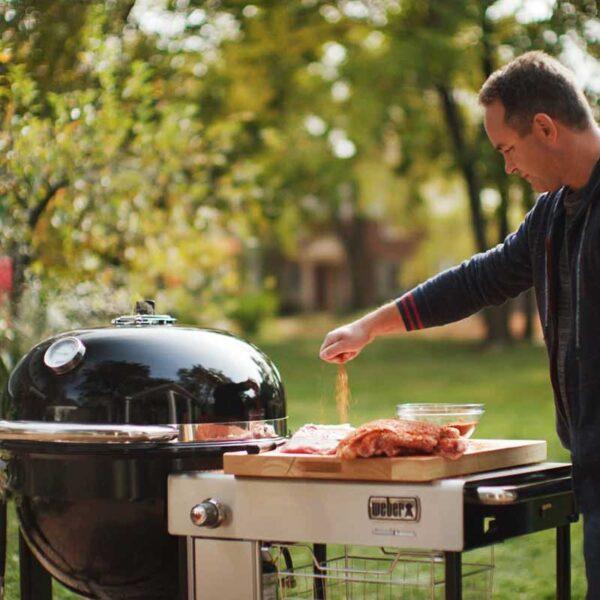 The Weber Summit Kamado S6 provides plenty of space to prep food