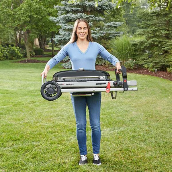 The Weber Traveler is easy to carry