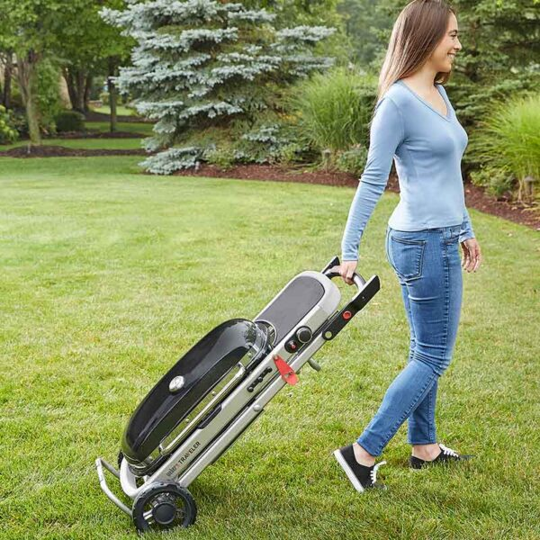 The Weber Traveler is easy to take with you