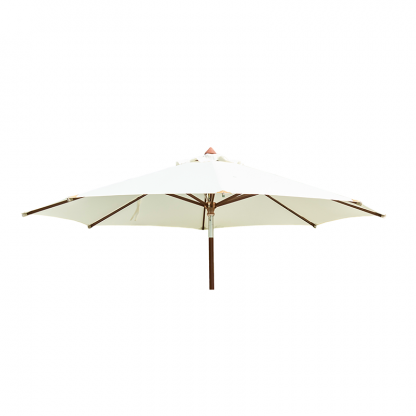 Luxury Round Hardwood Parasol with Pulley in Ecru 3.0m