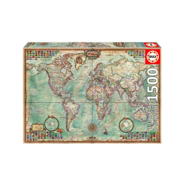 University Games educa borras world map 1500 piece jigsaw puzzle Box