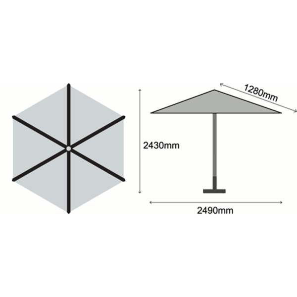 Dimensions for Sturdi Wood Pulley 2.5m Round Parasol