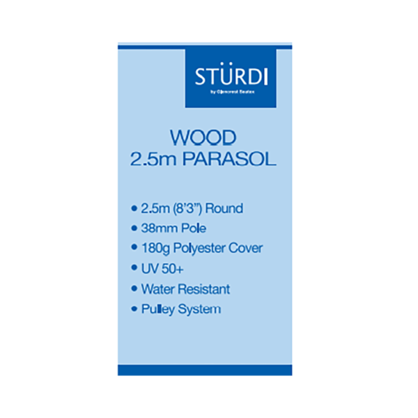 Sturdi Wood Pulley 2.5m Round Parasol Details