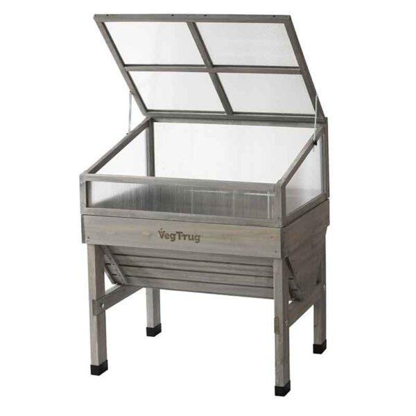 VegTrug Cold Frame Grey Wash (Small 1m) open