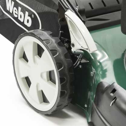 Webb Classic 51cm Self Propelled Petrol Rotary Lawn Mower Driving Wheels