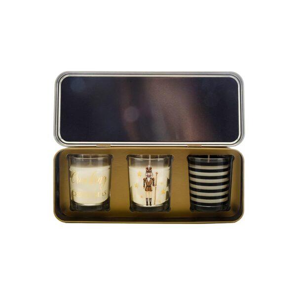 Wax Lyrical Votive Candle Tin Cracking Christmas - Set of 3 Inside