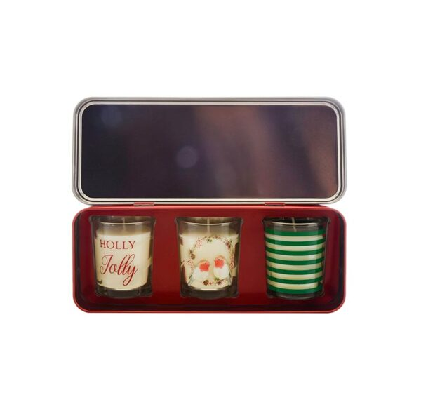 Wax Lyrical Votive Candle Tin Holly Jolly - Set of 3 Tin